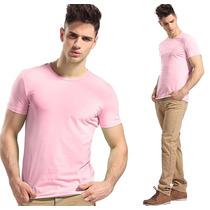 Kit Com 10 Camisa Slim Fit Camiseta Básica Lisa - Masculina
