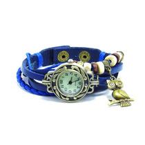 Relógio Pulseira Feminino Vintage Azul Pingente Coruja