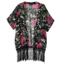Kimono Modelo Roses Con Flecos