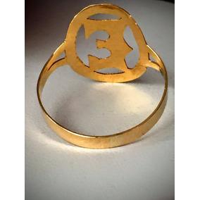 Anel Em Ouro 18 K Letra E