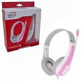 Fone De Ouvido Headset Rosa E Branco Com Microfone 20 Mw