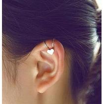 1 Brinco Piercing Coração Falso De Pressão Prata Ear Cuff