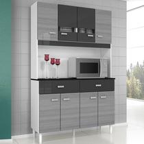 Cozinha Compacta Kit Manu 08 Portas 02 Gavetas Bra/gri/pre