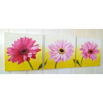 Cuadros Decorativos Tripticos Florales Margaritas -en Stock-