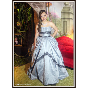 Vestido Debutante Princesa Alice No País Das Maravilhas Azul