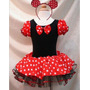 Fantasia Minnie Com Tiara Vermelha Ou Rosa Pronta Entrega