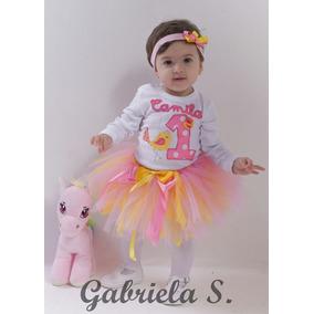 Set Princesa Bebé: Body Con Bordado De Nombre Y Pajarito.