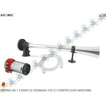 Buzina Ar 1 Corneta Cromada 12v C/ Compressor Maritima