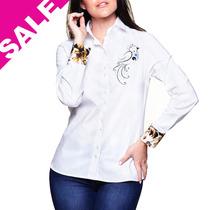 Camisa Feminina Blusa Listrada Branca Manga Longa Skinny