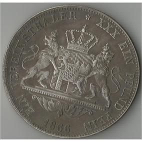 Moeda De Prata Da Alemanha 1866 - 1 Vereinsthaler