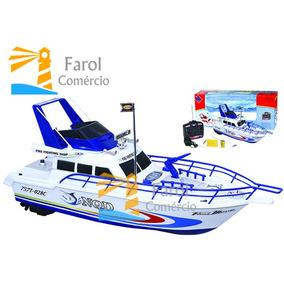 Barco Lancha De Controle Remoto Bateria Recarregável Complet