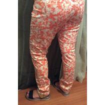 Pantalon , Floreado Coral Y Blanco Sin Uso