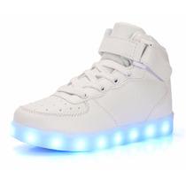 Tenis Led Branco Prata Cano Alto Iluminado Luz Sob Encomenda