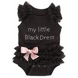 Ganz Bebés Bordado Poco Negro Vestido Body