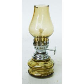 Lampião De Mesa Querosene Em Vidro Dourado Miniatura