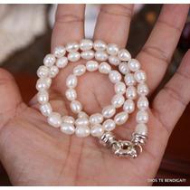 53 Perlas Blancas Barrocas Collar Corto