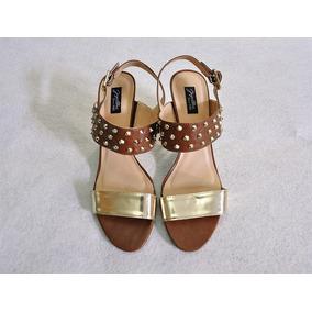 Sandália Dourada E Marrom