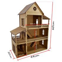 Casa Para Boneca Polly 60x44x20 Madeira Mdf