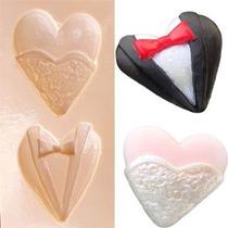 Molde De Silicone P/ Biscuit: Coração Noivos 1100