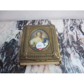 Antigua Alhajero Caja Musical Con Miniatura Pintada A Mano