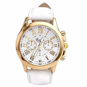 038c4f68c4a Relógio Feminino De Pulso Dourado Branco Analógico Sintético