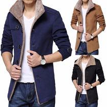 Chaqueta Fashion Parka Fleece Winter Warm Trench Coat Hombre