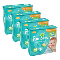 4 Pacotes De Fraldas Pampers Confort Sec Xg 34 Unidades Cada