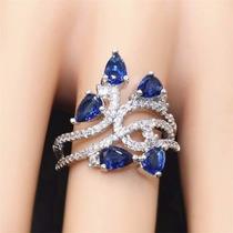 Anel Feminino De Prata 925 Pedra Azul Safira E Topazios