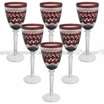 Conj. De Taças Para Vinho Em Cristal Vermelho Escuro Design