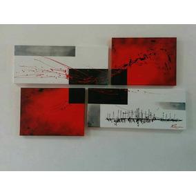 Cuadro Minimalista Moderno Tríptico Texturado Pintado A Mano