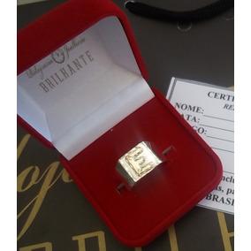 Anel Masculino Prata Letra Do Nome Em Ouro 12kl
