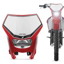 Farol Carenagem Off Road Vermelha Universal Moto Nacional