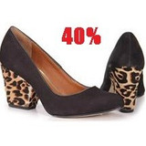 40% Off Sapato Scarpin Tanara Preto Onça N5662