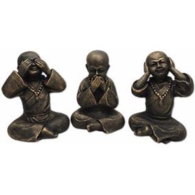 Trio Budas Chinês Gordos Cego Surdo Mudo Resina Decorativo