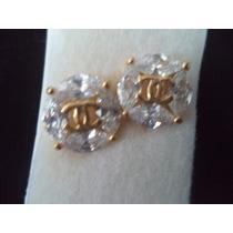 Aretes Chapa De Oro Con Zirconia Chanel