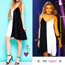 Vestido Seda Combinado Natural Y Negro, Codigo Mb16697