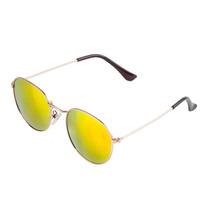 Óculos De Sol Feminino Round Dourado Lente Espelhada Amarela