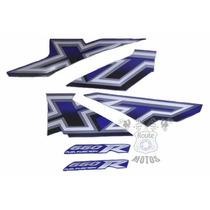 Jogo Adesivos Faixa Completa Xt 660r 2005 2006 Azul Kit