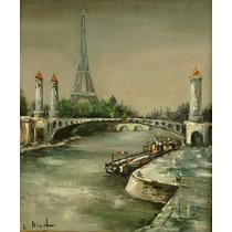 E Nicol Pintura Al Oleo Torre Eiffel Desde El Sena Sxix