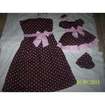Vestido Marrom Bolinha Rosa Mae E Filha