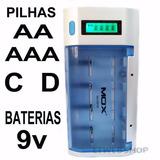 Carregador De Pilhas Aa Aaa C D Bateria 9v Mox Cb795 Rápido