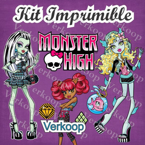 Kit Imprimible Monster High Marcos Tarjetas Invitaciones