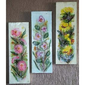 Kit 3 Telas- Textura E Tinta Acrílica - Floral- Frete Grátis