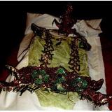 Antiguo Disfraz Arbol Malla Y Tocado Lentejuelas Nena-foto