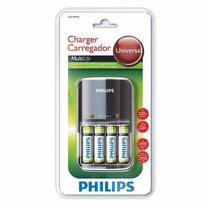 Carregador De Pilhas Philips + 4 Pilhas Aa 2450mah Original