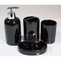 Jogo Banheiro 4 Pçs - Preto - Saboneteira/pasta/escova Lindo
