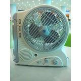 Ventilador Recargable Con Lampara Led Y Radio