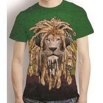Camisa Reggae Camiseta Leão Jamaica Bob Marley Estampa Total