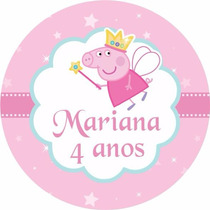 Adesivo Personalizado Peppa Pig P Latinha 30 Un Menina Festa