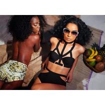 Trajes De Baño Negro Bikini Push Espalda Abierta Trikini